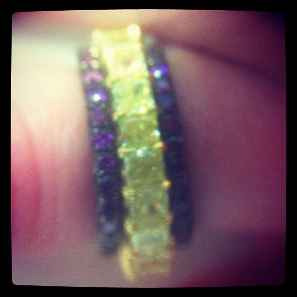 5 carat yellow diamond band and purple diamond stackers. I love trunk show weekends!  (Taken with instagram)