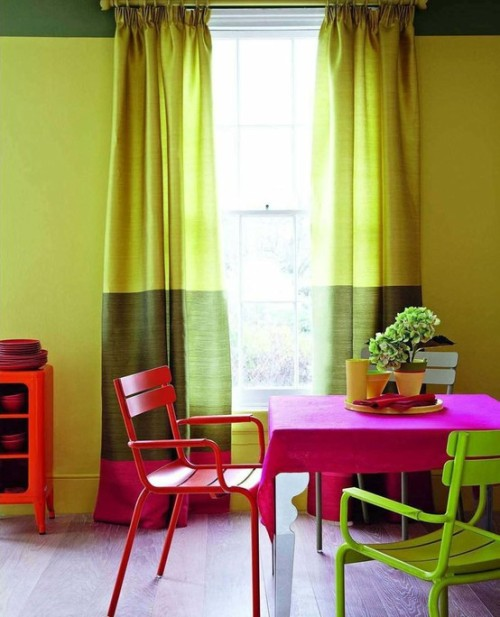 homedesigning:  Bright And Colorful Dining Room Design Love the contrast between the green and pink.
