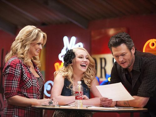"""You're real!"" The Voice contestant RaeLynn Woodward, starstruck upon meeting her ""inspiration,"" Miranda Lambert"