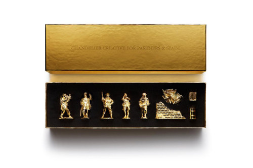 partners & spade x chandelier creative gold army figurines