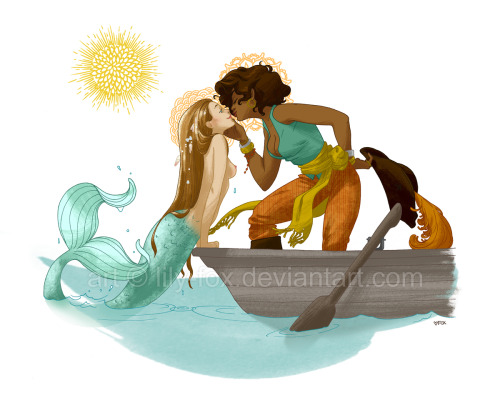 gingerhaole:   Once upon a time, I drew a mermaid and a pirate queen in love.