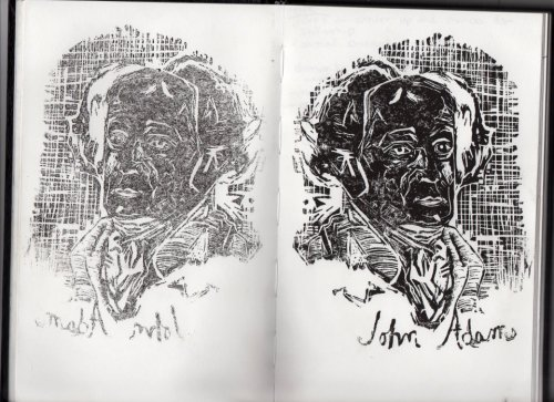 (A look into my sketchbook.) First time carving a linoblock Portrait of John Adams made sometime January 2012