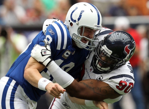 Peter King's Top 50 Free Agents: (Top 10) Peyton Manning (QB) Mario Williams (DE/OLB) Cortland Finnegan (CB) Carl Nicks (OG) Matt Flynn (QB) Brandon Carr (CB) Vincent Jackson (WR) Jeremy Mincey (DE) Stephen Tulloch (MLB) Brodrick Bunkley (DT) (Photo by Ronald Martinez/Getty Images North America)