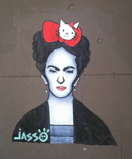 Frida and Hello Kitty. Somewhere on Damen Ave. here in Chicago.