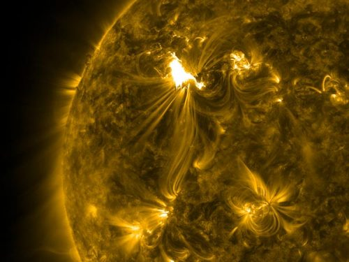 "the-star-stuff:  Solar Storm: Why It Fizzled … for Now Magnetism is one reason current sun storm has been relatively harmless. Given the sheer power of this week's solar flares—and NASA's warning of a potentially severe geomagnetic storm, with potential disruptions of power grids, GPS, and communications—the sun storm striking us Thursday has been surprisingly soft. And for good reason, solar physicist Alex Young explains. Though scientists say the storm may still intensify as Friday approaches, the storm level is still at the G1 level—""minor"" on the space-weather scale. ""At that level, the effects will be fairly minimal,"" said Young, of NASA's Goddard Space Flight Center. ""Nothing that would actually cause any problems."" The solar storm's gentler-than-expected treatment of Earth so far has a lot to do with the direction the storm was traveling when it hit our planet's magnetic field, explained Young, who works on the Solar and Heliospheric Observatory project. ""The Earth's magnetic field has a northward direction to it,"" he said. There's also a magnetic direction to each solar storm, or coronal mass ejection (CME)—a burst of charged solar particles expelled from the sun the sun by the ""snapping"" of magnetic fields. If, as with the current sun storm, a CME's magnetic field points northward, its interaction with Earth's magnetic field can be weakened—""the two are both pointed in the same direction,"" Young said. ""But if they're opposite each other—if the [storm's] magnetic field is southward—then there's a much stronger interaction. It allows much more energy to be pumped into Earth's magnetosphere."" Image courtesy SDO/NASA"