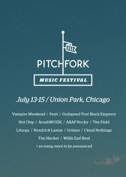 pitchfork:  Tickets for this year's Pitchfork Music Festival are now on sale, with more acts to be announced in the coming weeks.