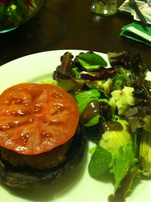 Portobello Burgers with Artichoke and Avocado Salad