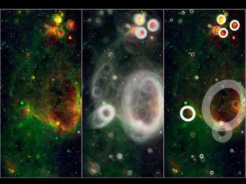 "ikenbot:  Citizen Scientists Discover Cosmic Bubbles in Milky Way Galaxy  Image: A team of volunteers pored over observations from NASA's Spitzer Space Telescope and discovered more than 5,000 ""bubbles"" in the disk of our Milky Way galaxy.Credit: NASA/JPL-Caltech/Oxford University  More than 5,000 space bubbles have been discovered in the disk of our Milky Way galaxy by a team of part-time citizen scientists.  These bubbles are blown by young, hot stars into the surrounding gas and dust, and indicate areas of brand-new star formation, scientists say.  ""These findings make us suspect that the Milky Way is a much more active star-forming galaxy than previously thought,"" Eli Bressert, an astrophysics doctoral student at the European Southern Observatory, said in a statement. ""The Milky Way's disk is like champagne with bubbles all over the place.""  About 35,000 volunteers sifted through data from NASA's Spitzer Space Telescope on the online Milky Way Project to make the discoveries. These citizen scientists have found about 10 times more bubbles than previous surveys."