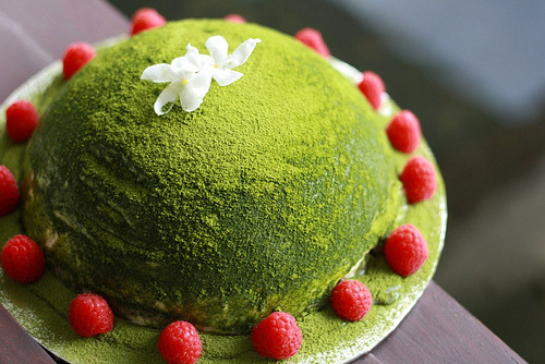 Matcha green tea, jasmine and raspberry dome cake (by honey drizzle)