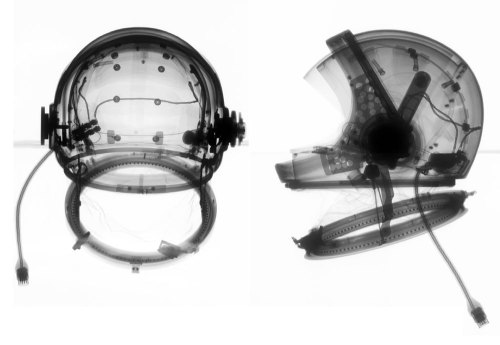 "Radiograph Image of A4-H ""Universal"" Helmet, Hamilton Standard, 1964 Ron Cunningham and Mark Avino. From ""Spacesuits: The Smithsonian National Air and Space Museum Collection"" by Amanda Young and Mark Avino (via)."