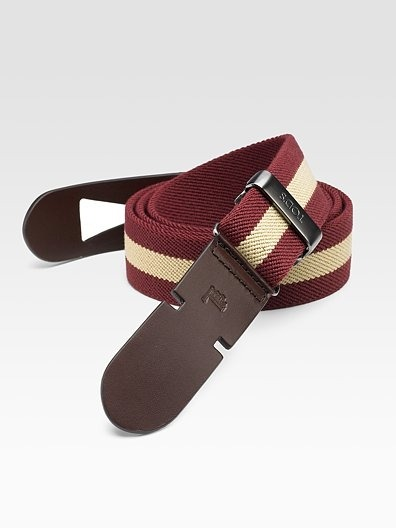 Tod's Greca Belt: Leather/Canvas…