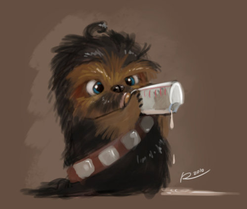 ADORABLE! somewhereontheiceplanet:  Baby Chewbaca by Salvador Ramirez Madriz