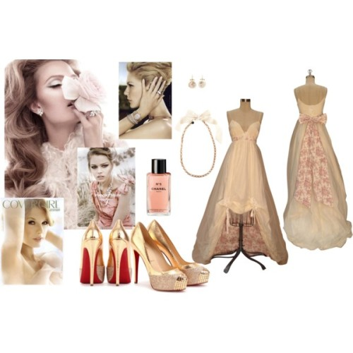 Look Toalete by ericamy featuring white pearl earringsVintage dress, $2,500Christian Louboutin platform pumps, $1,395Christian Louboutin platform pumps, $1,395Lanvin jewelry, $1,245Annette Ferdinandsen white pearl earrings, $1,210Chanel fragrance, £54