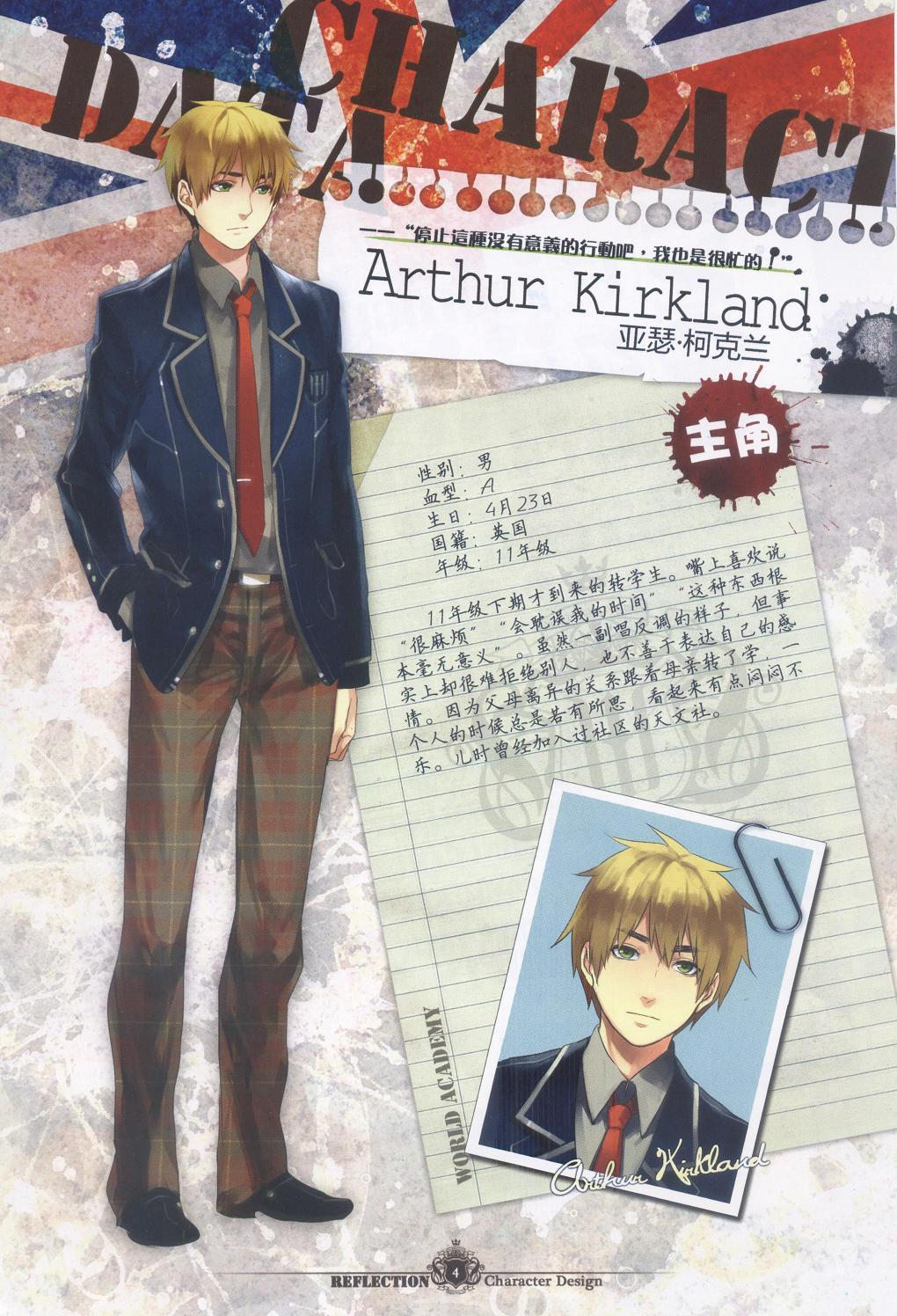 "honadew:  CHARACTER DATA: ARTHUR KIRKLAND Gender: MaleBlood: ABirthday: April 23Nationality: BritainGrade/Year: 11 A new transferred student. He likes to say, ""annoying"" ""This is wasting my time"" and ""This kind of things is meaningless"". Even though he may look hard to make friends with, he is actually unable to accept people into his life, and he doesn't know how to express his feeling. Because after his parents separation, he is forced to move with his mother. Looking back at his childhood memory, all he ever felt was lonely. He joined an astronomy club when he was young."