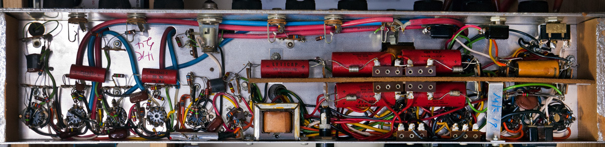 Silvertone 1485. About to do a full restoration of this amp… lots more to come of this one. It needs a new OT (there are two in the amp), new power tubes, new pilot light, new supply caps and sundry other small parts, and a grounded power cord. The owner has also opted to have speaker patch jacks added to replace the hardwired connection, which was falling apart. Overall, a great specimen, but a real rat's nest to work on.