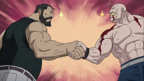 This muscle bromance caught me off-guard, but it's AWESOME. (more FMAB shit to come, you have been warned)