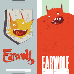 "EARWOLF POSTER PROCESS Ever wondered how that fancy schmancy Earwolf poster came to be? I've got a secret, it started in a book that looks to be managed by a serial lunatic (me) and finally finished on a bonafide press. Here are the very first thumbnail sketches I produced when tasked with producing a poster in only a matter of weeks. After that massacare, I finally started to narrow it down to a smaller handful of approaches. I rendered new art for final scans and then took to the computer to make them sexy and smooth. When all was said and done, we settled on the mounted wolf head which you can just so happen to procure here. Jeff and Scott even sign it! As a little bonus to this ""look back"", I went ahead and included some options that just didn't make the cut — much to my chagrin. Oh well, perhaps they'll see production one day."