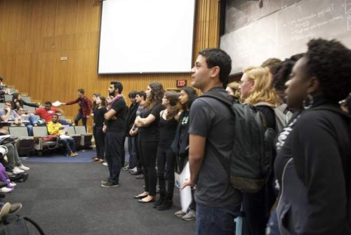 "University of Rochester students protest professor who backed Limbaugh A new manifestation of the Sandra Fluke case: Thirty students created a wall between professor Steven Landsburg and his class, after Landsburg voiced support for Rush Limbaugh's insulting descriptions of Georgetown student Sandra Fluke. In a statement released to staff and students, University president Joel Seligman was also quick to condemn the professor's comments, saying, ""we are here to educate, to nurture, to inspire, not to engage in character assassination."" (photo by Jesse Partrick) source Follow ShortFormBlog"