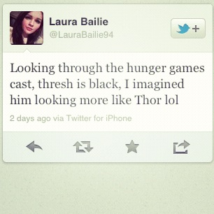 She imagined Thresh looking like Thor…