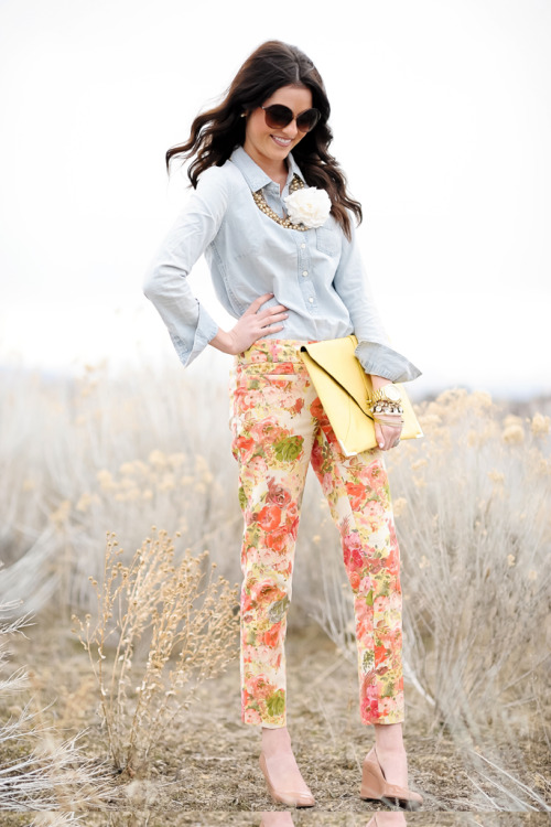 Floral pants are huge this summer!