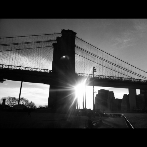 Black and white Brooklyn Bridge.