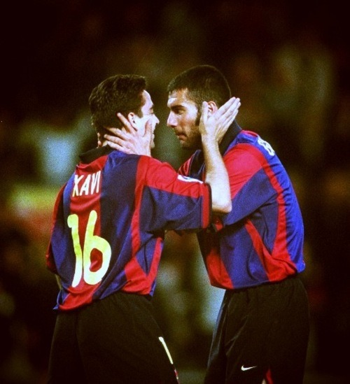 Xavi Hernandez and Pep Guardiola