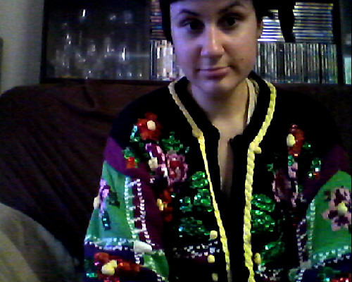 gannetguts:  Spoils of clothing swap, one. The ugliest effing sweater.  I'm so glad you nabbed that sweater.  Because if you didn't, I would have had to.  And I really don't need the world's ugliest effing sweater.
