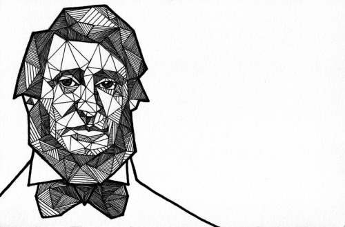 Geometric Portrait: THOREAU - 1817 - 1862 Pen + Ink  //  Thinkers Series 5/6 //  Allison Kunath [ commission a custom geometric portrait ]