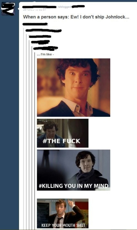 Dear parts of Sherlockian fandom: What the fuck is this? I, myself, ship Johnlock. But I respect those that do not, because Either way, Sherlock and Watson are a legendary duo. Whether or not they are lovers or friends, they are meant to be in each others lives. It's a dick thing to do. So don't hate ships. What happened to fandoms, or more specifically, ALL OF TUMBLR, gathering together to love one thing? Why the inter-fandom hatred? I don't understand.