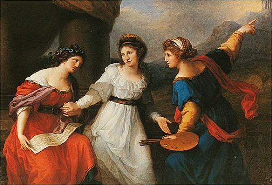 Angelica Kauffman, 1792, torn between music and painting (Swiss-Austrian, 1741 - 1807) bio
