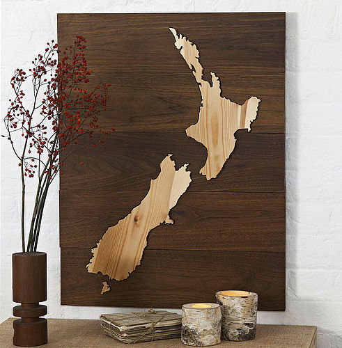 artmaps:  Wooden Map of New Zealand by WoodenWords on notonthehighstreet.com   Andrew, if I was any good at making things like this, I would make it for you. :)