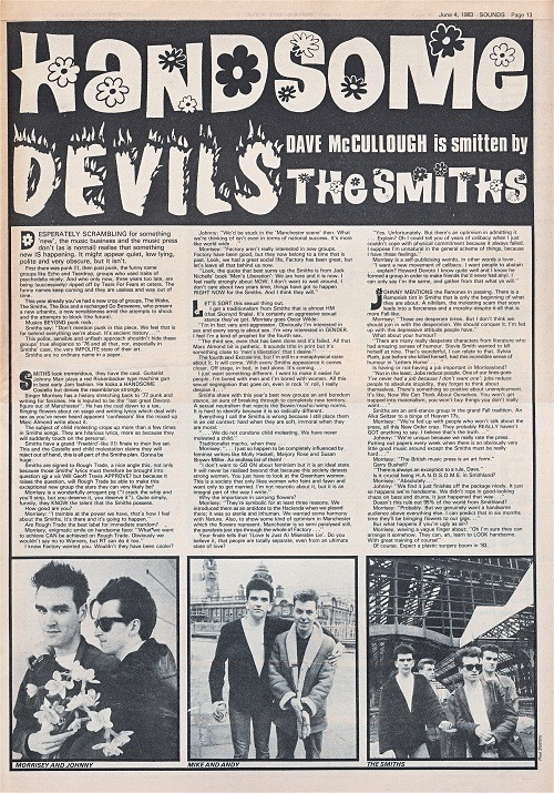 Very early Smiths interview from Sounds magazine, June 4th 1983. This was one of Morrissey and Johnny's first proper appearances in the music press…