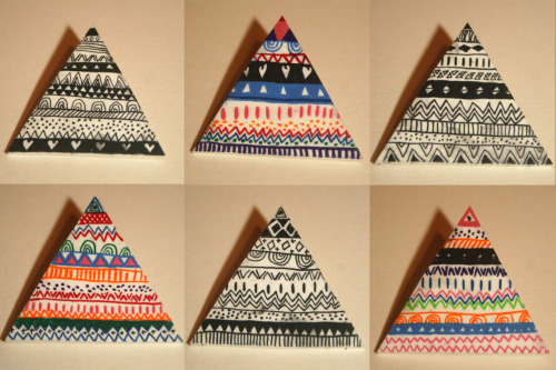 designersof:  LYDINTHESKY triangle patterned badges