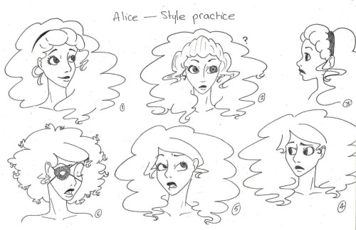 Headshots of my character, Alice. I'm trying to practice with a different style, but I think it still looks too … Disney-ish.