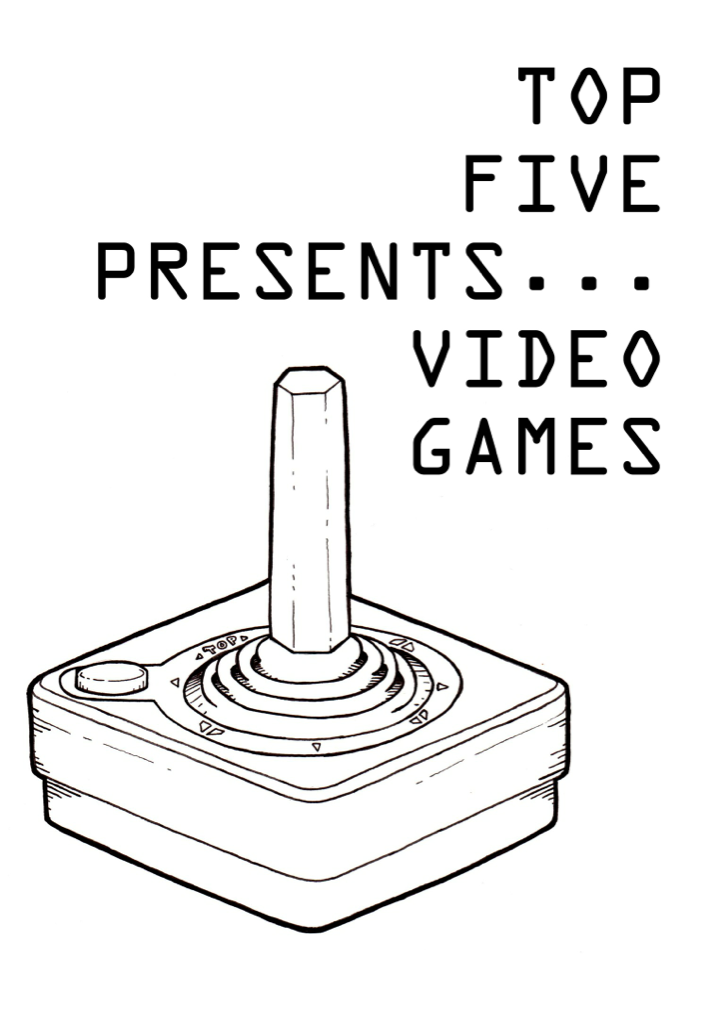topfivepresents:  Video games cover by The White Lando  A cover for a local zine I drew. The zine is called Top Five Presents… The theme for this issue was of course video games. I thought I'd show my age a little bit.
