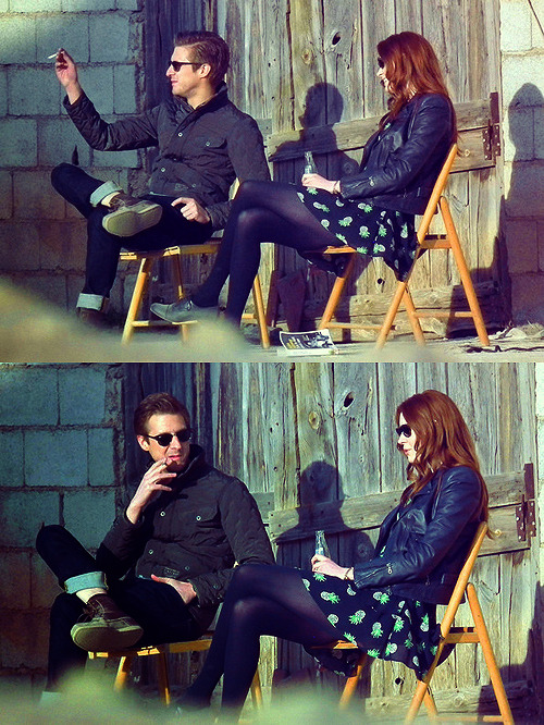 my-ponchoboys:  Arthur and Karen on location in Spain filming Series 7 Doctor Who, 9.3.12
