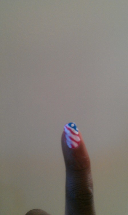 My flag nail. Done a week ago, so most look crappy. Dx