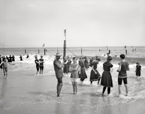 "1905 Surf bathing at Coney Island, New York, USA."" The latest in revealing swimwear! 8""x10"" glass negative, Detroit Publishing Co. via"