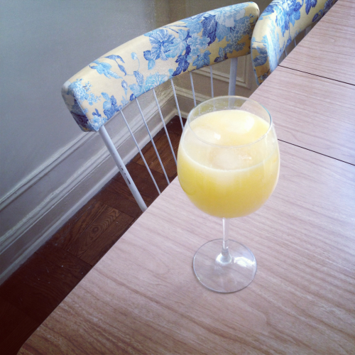 a faux mimosa….oj and pellegrino! I've got a bit of a cold and this is my effort to make hydrating and getting some vitamin c a little more fun and fancy. xo!