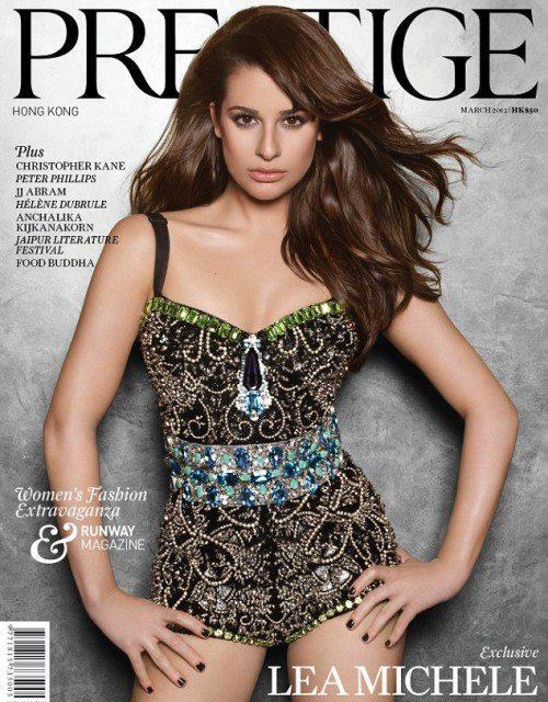 Lea Michele wearing @DolceGabbana on Prestige Hong Kong March 2012