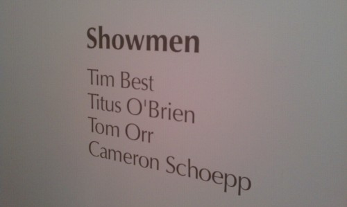 Showmen opening last night on view through April 28th at brand 10 art space.