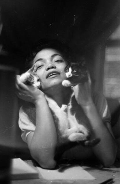 Eartha Kitt, photographed by Gordon Parks, with her two cats.