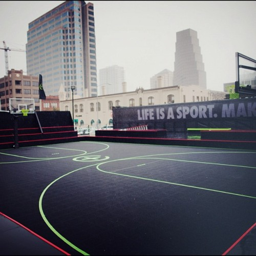 Hoops, Goals, Tricks. #counts.  The calm before the #sxsw storm. Starting today, the NikeFuel Lot will be open daily from 8AM-7PM, with a skate park and basketball and futsal courts. Grab your friends, come down to 4th and Colorado. #makeitcount