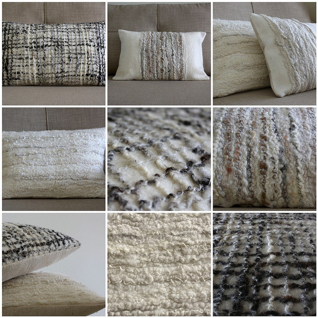 Stunning Felted decorative pillows with handspun and wool … blogged by red2white
