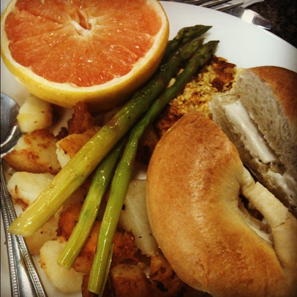 Bagel w/vegan cream cheese, tofu scramble, grapefruit, home fries, asparagus from Mark's Kitchen in Takoma Park, MD.