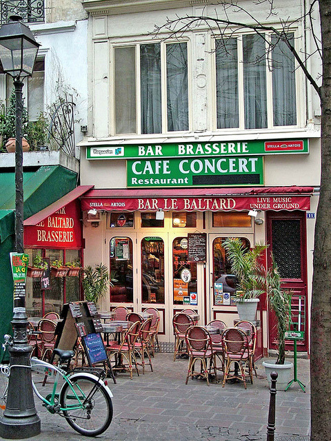 Rita Crane Photography:   Paris / Bistro / Cafe / Restaurant / Bicycle / Lampost / Historic Cafe / Cafe Concert / brasserie / red / Bar le Baltard, Marais District, Paris by Rita Crane Photography on Flickr.