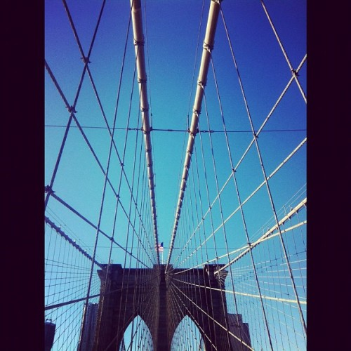 #brooklyn #bridge #cables #lines #perspective #flag #nyc #lady_birdseyeview  (Taken with Instagram at BKLN)