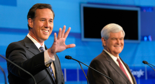 End of the line for Rick Santorum and Newt Gingrich? Could the primaries in Mississippi and Alabama be the beginning of the end for the social conservatives? Polls show a resurging Newt Gingrich could potentially upset rivals Rick Santorum and Mitt Romney in two key upcoming primaries. If Gingrich loses in Mississippi and Alabama he'd likely have to drop out, greatly increasing Santorum's chances against Mitt Romney. But if he wins, Gingrich and Santorum would continue to compete for the social conservative vote, potentially tanking either candidate's chance of upsetting current front-runner Mitt Romney.(photo via Politico) source Follow ShortFormBlog