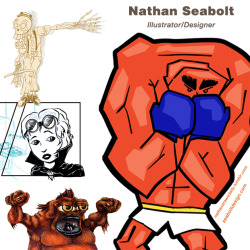 Nathan Seabolt I am a multimedia Illustrator/Designer, lately working in digital and traditional drawing and painting. I am inspired by classic comic books, Pop art, Expressionism and painterly collage-as well as anything particularly cool. I make comic books and single illustrations for fun and profit, and I most enjoy using a humorous viewpoint to skew the ordinary and just maybe show people something they may not have thought of before.You can see what I'm up to on a daily basis at :http://nathandrawsdaily.tumblr.comThanks for reading to the bottom!