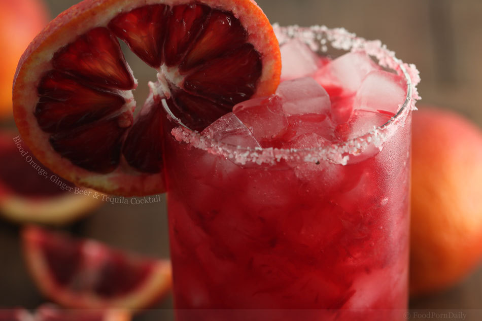 Blood Orange, Ginger Beer, and Tequila Cocktail